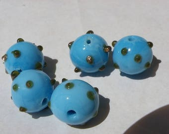 5 beautiful beads 16 mm Lampwork with blue gold sand