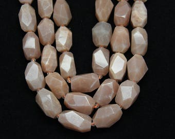 Natural Orange Color Moonstone Nugget Beads,Drilled Faceted Smooth Chunks Loose Beads,Approx 16PCS
