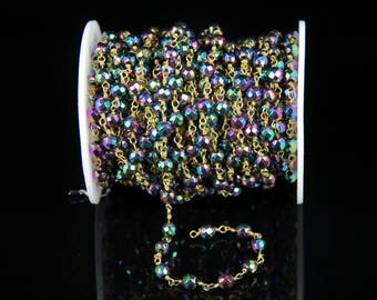3.28 Feet,Faceted Round Iron Pyrite Beads Chains,Rainbow Titanium Plated Stones with Wire Wrapped Links Bracelets