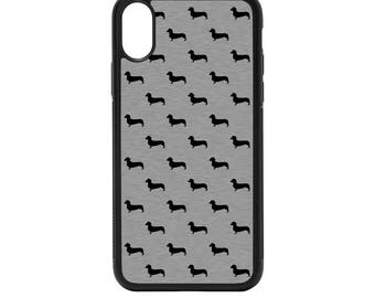 Dachshund Silheouttes Rubber Bumper Case - iPhone X 8 7 6 5 SE, Galaxy S8 S7 S6 S5 Edge Plus, dog pattern