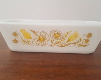 Glasbake Loaf Pan - Daisy and Tulip Pattern