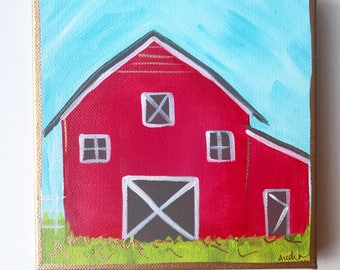 ORIGINAL Red Barn PAINTING on deep Canvas, Acrylic Gold Leaf, Original Art Gift Audrastyle Impressionism Abstract Farmhouse Kitchen