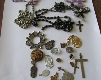 24 Vintage Religious Medals Pins Cross Rosary Bead Parts Lot Rosary Medal Crosses Pin