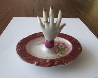 Vintage Porcelain Hand Ring Dish Dresser Trinket Painted Floral Ring Tree