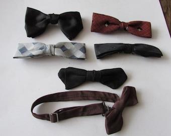 6 Vintage Clip On Men's Bow Ties Bow Tie Bowtie Ormond Best Clip Shur-On Wembley