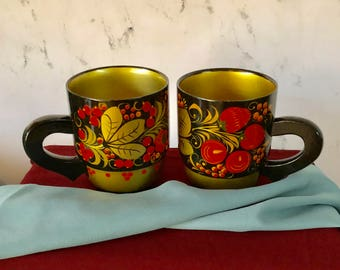 Vintage Hand Made, Hand Painted Khokhloma Wood Cups - Russia