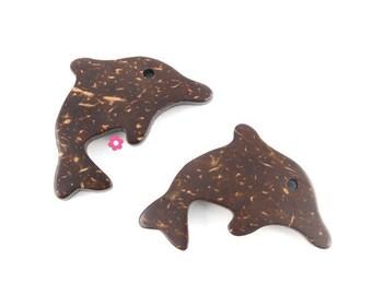 Dolphin charm pendant 4 x 35 x 31mm (285D) coconut wood