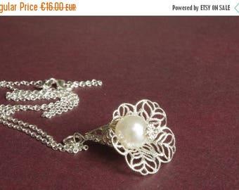 Sale Pearls Necklace Silver Calla Necklace Silver Filigree Necklace Pearls Necklace Floral Necklace Bridal Necklace Bridesmaids Gift