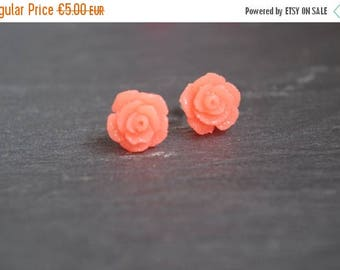 Sale Coral Flower Stud Earrings Coral Rose Stud  Earrings Rosebud Earrings Hypoallergenic  Stud Rose Earrings Jewelry Flower Girl Gift for h