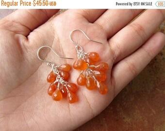 11%SALE CHRISTMAS in JULY Carnelian Cluster Earrings, Sterling Silver Earrings, Natural Gemstone Jewelry, Orange Dangle Earrings
