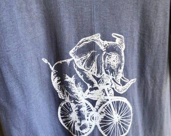 Blue-Grey Elephant Riding a Bike Tee