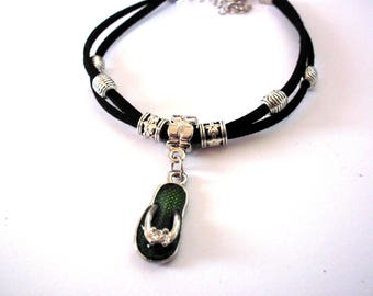 Black Suede, green tongue charm bracelet