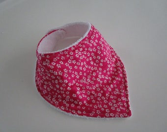 """Small white flowers"" cotton bandana bib very absorbent Terry lined"