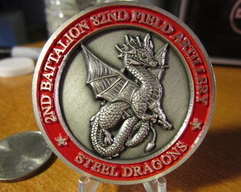 United States Army * 2nd Battalion * 82nd Field Artillery Regiment * 3rd BCT Steel Dragons Command Challenge Coin #3769