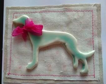 Porcelain Lurcher/Greyhound greetings card