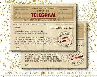 Printable elf note etsy elf welcome letter santa letter elf telegram elf santa spiritdancerdesigns Images
