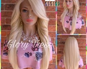 ON SALE // Custom Long & Straight Lace Front Wig, 100% Human Blend Wig, Platinum Blonde Wig, Free Parting, Soft Swiss Lace//MARY