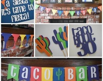 Fiesta Birthday Decor, Fiesta Birthday Party Pack, Fiesta Theme Birthday Decor, 30th Birthday Decor, Fiesta Party Decor