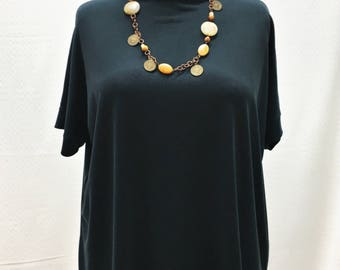 Individual, Unique, Batwing, Oversized, Top, Tunic, Short Sleeves, One Size, Black
