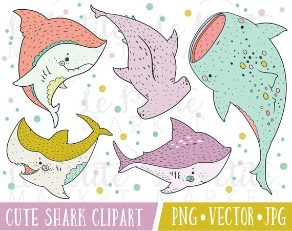 Cute Hipster Shark Clipart Images Kawaii Sharks Clipart Cute