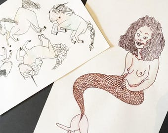 Unicorns illustration & Mermaid illustration, both in watercolour and pen drawing