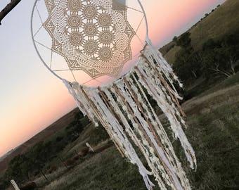White and cream  toned crochet handmade dream catcherwith   dreamcatcher Wedding