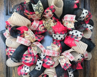 Winter wreath - christmas wreath - holiday wreath - winter decor - winter burlap wreath - winter deco mesh wreath - christmas gift - holiday