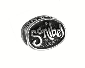 Sanibel Island w/Dolphin Large Hole Silver Bead - Compatible with ALL Popular Bracelet Brands - Made in the USA! - Item #13543/E
