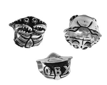 OBX/Outer Banks Mr Crabby Large Hole Silver Bead - Compatible with ALL Popular Bracelet Brands - Made in the USA! - Item #20647