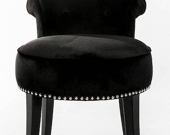 Luxury Black Silk Velvet Vanity Stool
