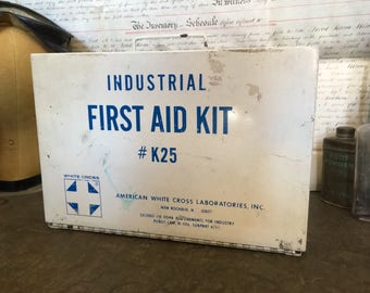 Vintage First Aid Kit, Industrial First Aid Kit #K25, White Metal Hanging Full First Aid Kit Circa 1970s, American White Cross Laboratories