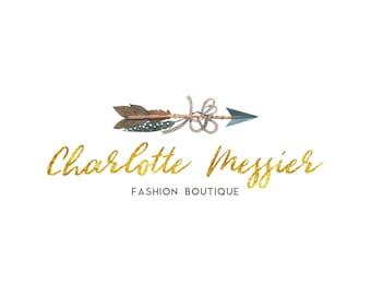 Boho Logo, Boho Watercolor Logo, Wedding Logo, Calligraphy Logo, Premade Logo, Gold Logo, Boutique Logo, Blogger Logo, Fashion Logo