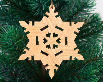 Honey Locust Handcrafted Wooden Star/Snowflake Ornament // Christmas Ornament // Holiday Ornament // Wood Ornament // Hardwood
