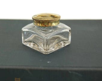 Vintage Glass Ink Pot with Brass Lid