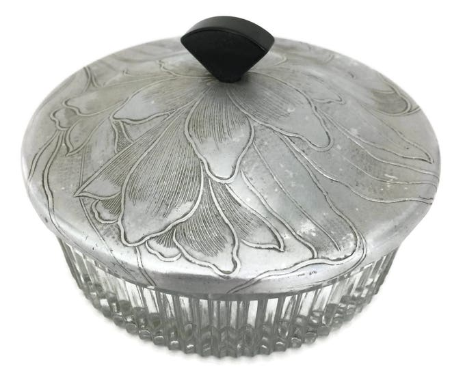 Mid Century Glass Dish with Aluminum Lid