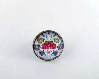 "Ring ""Balinese floral art"" glass cabochon 20 mm and bronze"