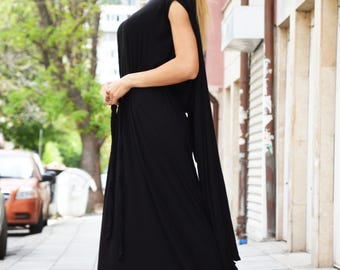 Oversize Hooded Dress, Loose Maxi Dress, Womens Long Black Kaftan Asymmetric Tunic Top by SSDfashion