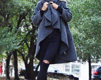 Warm Winter Dark Grey Coat, Asymmetric Extravagant Coat, Womens Coat With Pockets, Loose Maxi Top by SSDfashion