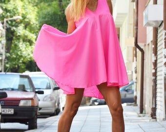 Loose Cotton Shirt, Oversized Summer Top, Plus Size Tunic, Asymmetrical Shirt, Casual Shirt, Pink Shirt by SSDfashion