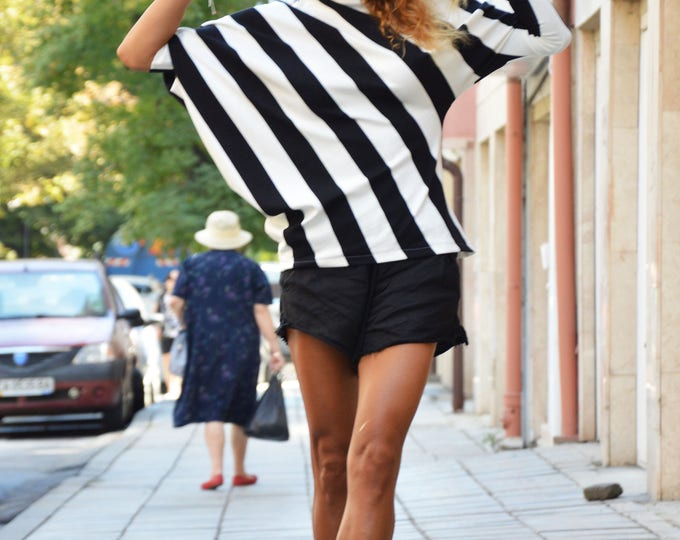New Oversized Striped Tunic, Asymmetrical Black and White Tunic, Women's Fashion Top by SSDfashion