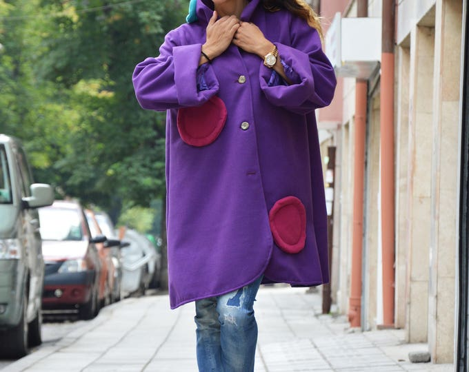 Womens Purple Coat, Maxi Loose Coat, Comfortable Wool Warm Coat, Kimono Coat, Winter Cape Coat by SSDfashion