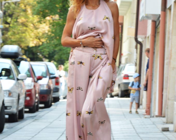 Women's Oversize Butterflies Set, Loose Combo Pants and Top, Asymmetrical Wide Pants, Backless Top by SSDfashion
