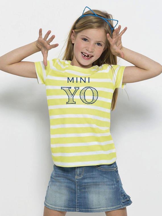Girl t-shirt stripes white-lime or white-blue MINI YO