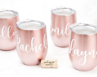 Personalized SWIG Rose Gold Wine Tumbler - Bridesmaid Gift - Bridal Party Gifts - Swig Wine Cup - Custom Wine Tumbler with Lid