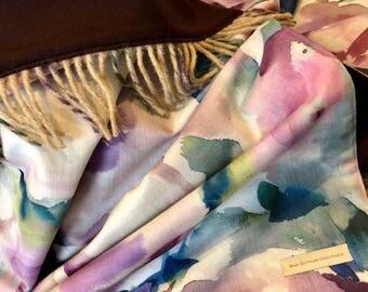 Purple watercolour throw / blanket with tassels