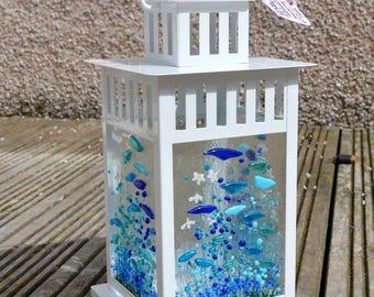 Handmade Fused Glass Art - Cornflower  Lantern