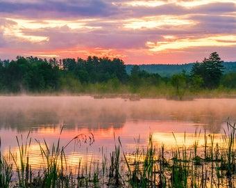 Pink Sunset Photo, Pink Clouds, Adirondack Mountains, Sunset Photography, Adirondack Sunset, Fine Art Photography, Sunset Print, Pink Sky