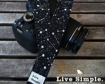 Correa para cámara Constelación en Negro | Estrellas | DSLR Camera Strap | Accessories | Soft Cotton | Live Simple®