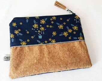 Clutch/cosmetic case * patterns flowers * 19 x 14 cm * cotton and natural cork clutch