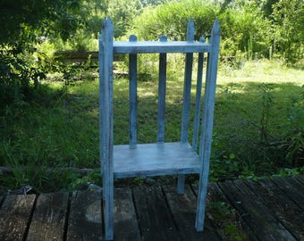 Blue Painted Distressed Side Table, Mission Style